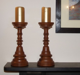 Candlesticks in Yew.